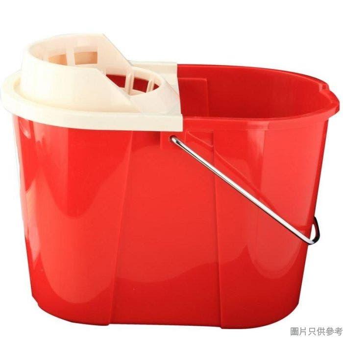 塑膠橢圓水桶附擰乾器及金屬手挽 11L