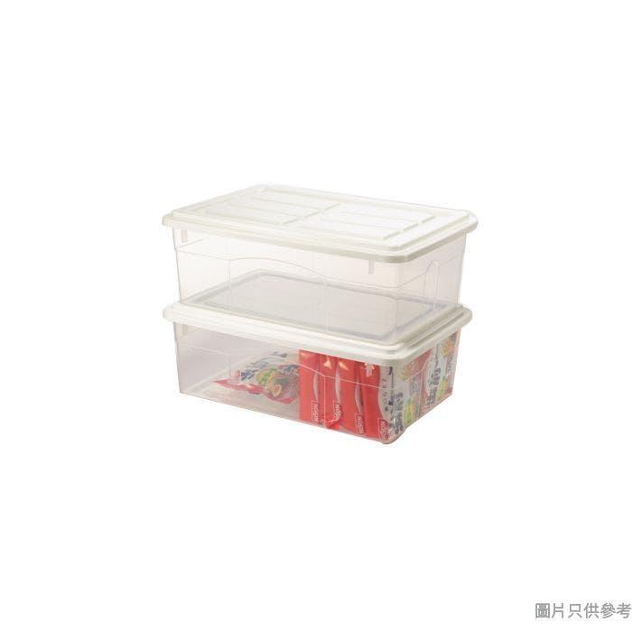 塑膠儲物箱連蓋10L 405W x 275D x 145Hmm (2件裝)- 白色