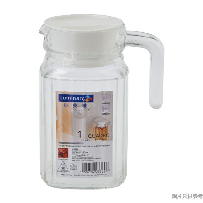 Luminarc樂美雅方方條子玻璃水勺附蓋500ml