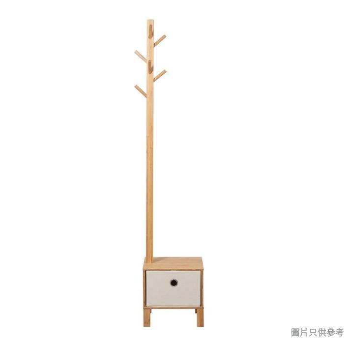竹木衣帽架附櫃桶 350W x 350D x 1760Hmm - 原木色