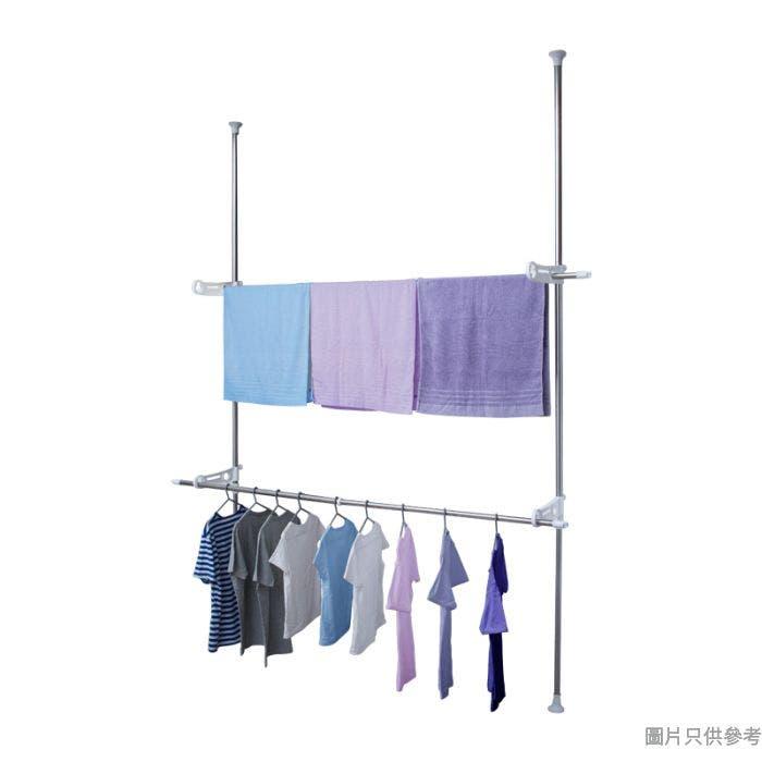 不鏽鋼頂天立地雙層伸縮曬衣架連伸縮杆 承重30kg 205-310W x 51D x 205-300Hcm
