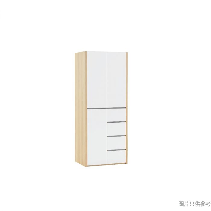 Staple 32.5吋三門四櫃桶衣櫃 - 橡木色配白色