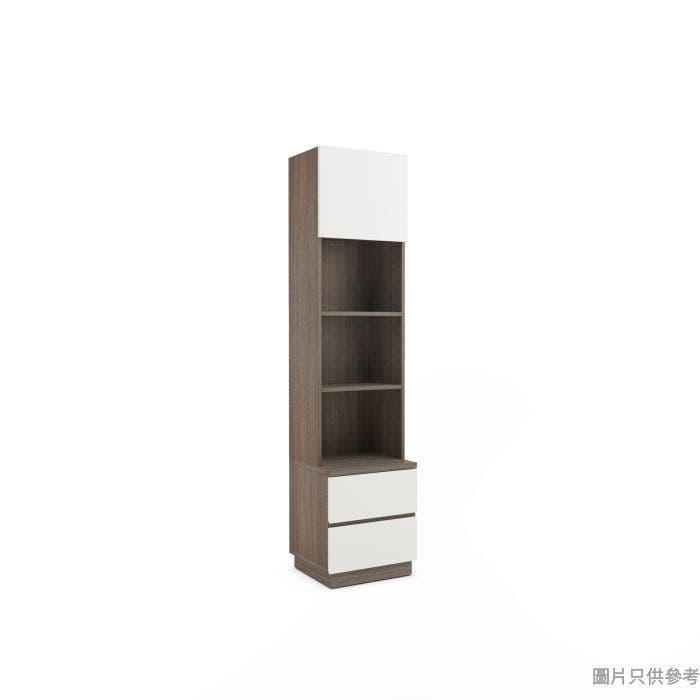 Staple 高身掩門兩櫃桶儲物櫃 450W x 400D x 1900Hmm - 胡桃色配白色