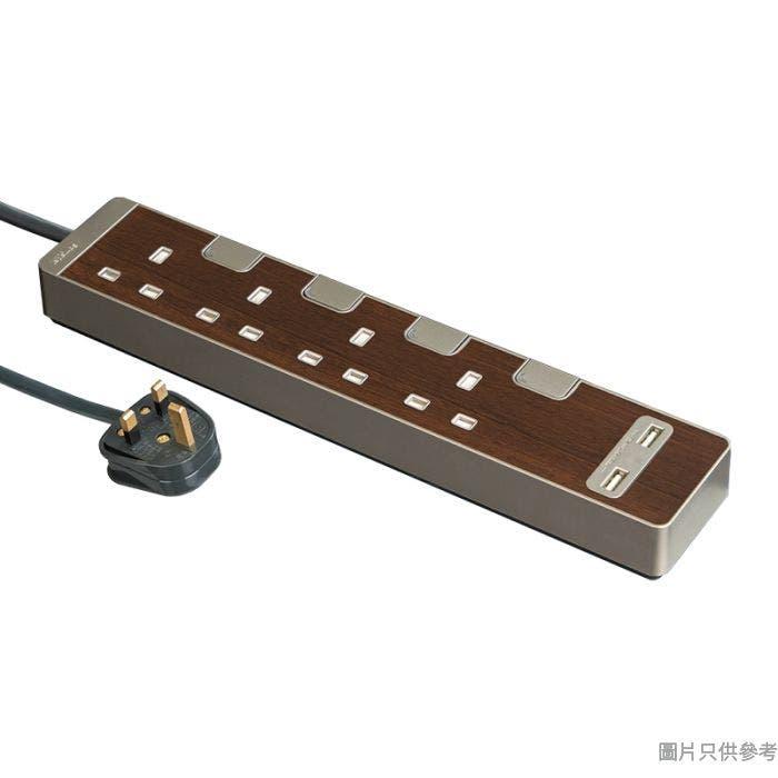 Schneider施耐德13A 4位獨立開關插座附2位USB&3米線TSH34U_3_WD_C5-胡桃木