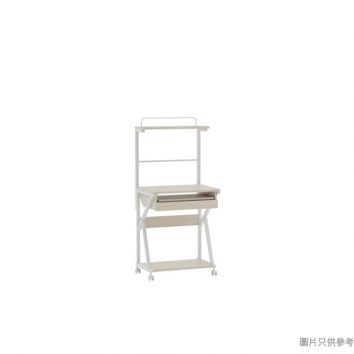 BANCO活動電腦檯連上座600W x 458D x 1340Hmm - 木紋色配白色