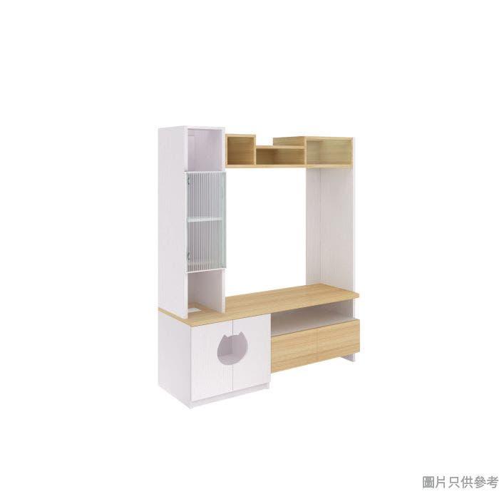 PetSpace 高身電視櫃貓款 1500W x 500D x 1800Hmm - 橡木色配白色