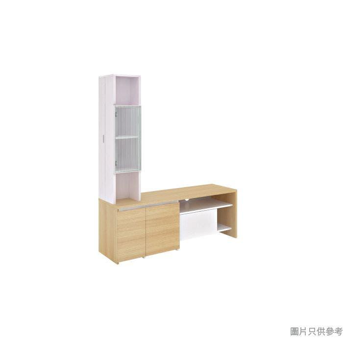 PetSpace 高身電視櫃狗款 1500W x 450D x 1800Hmm - 橡木色配白色