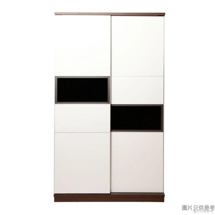 Staple 47吋雙趟門單櫃桶衣櫃 (胡桃色/白色)