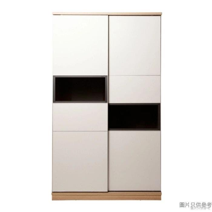 Staple 47吋雙趟門單櫃桶衣櫃 (橡木色/白色)