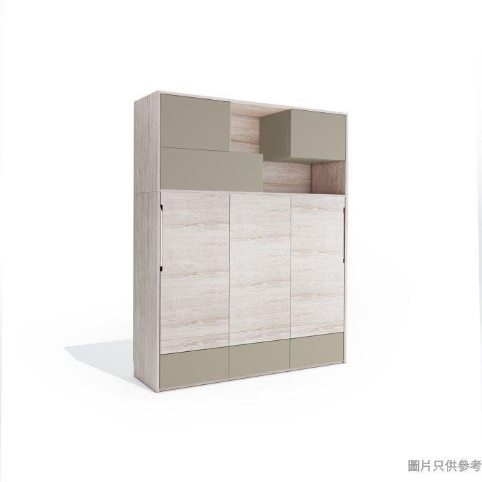 Transformer2.0 TFII-SOFA-A+B 多功能雙人床連書櫃1995Wx500Dx2380Hmm-木紋色配啡灰色