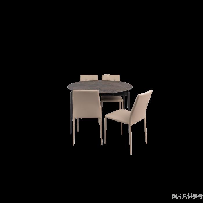 PIZA+ELVA意大利陶瓷玻璃開合圓餐檯配四椅 - 灰石紋檯面配乳白色椅