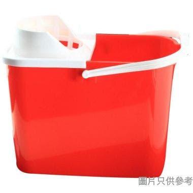 塑膠橢圓水桶附擰乾器及塑膠手挽12L
