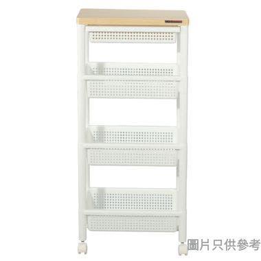 日本製MDF面板塑膠3層層架附抽屜及轆 455W x 295D x 978Hmm - 白色