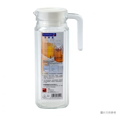 Luminarc樂美雅方條子玻璃水勺附蓋1.1L