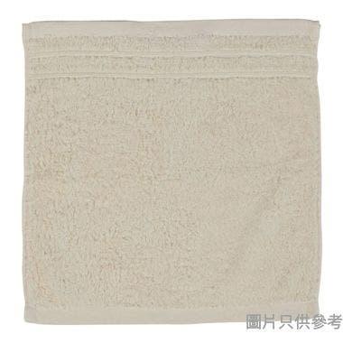 SOHO NOVO 全棉淨色緞檔方巾 35W x 35Dcm - 米色
