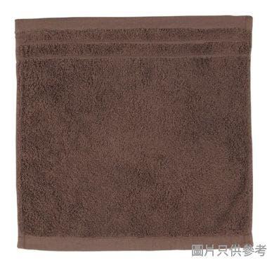 SN 全棉淨色緞檔方巾,35x35cm,0.049kg,啡色 ,順毛