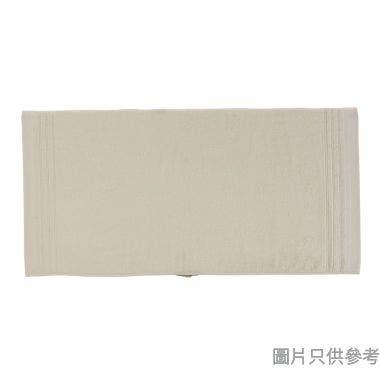 SOHO NOVO 全棉淨色緞檔浴巾 120W x 60Dcm - 米色