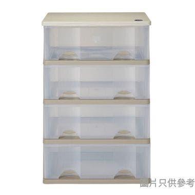 SOHO NOVO 4層 MDF 板面塑膠層櫃 600W x 445D x 885Hmm - 茶色配透明色