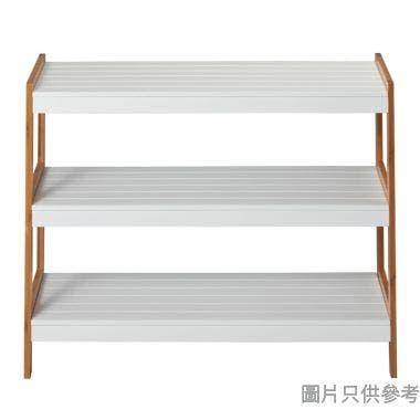 三層竹木腳層架 705W x 260D x 540Hmm - 原木色配白色