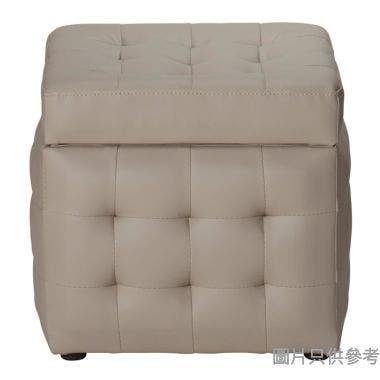 仿皮單座位儲物腳凳 415W x 415D x 380Hmm - 淺灰色