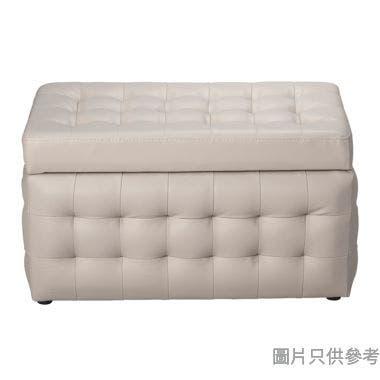 仿皮雙座位儲物腳凳 670W x 390D x 365Hmm - 淺灰色