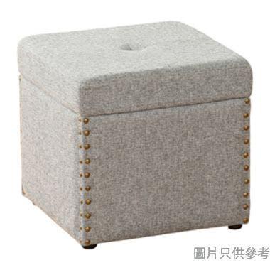 單座位布藝儲物腳凳380W x 380D x 370Hmm - 灰色