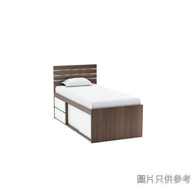 Staple 36吋x72吋波浪紋趟門連兩櫃桶高身床 - 胡桃色配白色