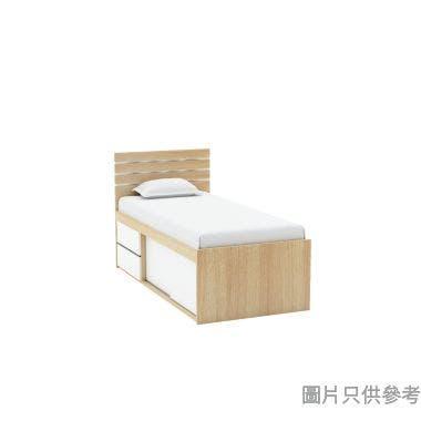 Staple 36吋x72吋波浪紋趟門連兩櫃桶高身床 - 橡木色配白色