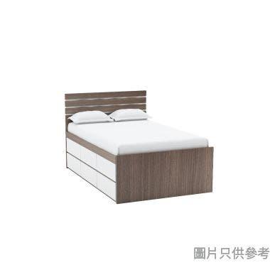 Staple 54吋x75吋波浪紋六櫃桶高身床 - 胡桃色配白色