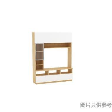 Staple 59吋兩櫃桶高身電視組合櫃 - 橡木色配白色