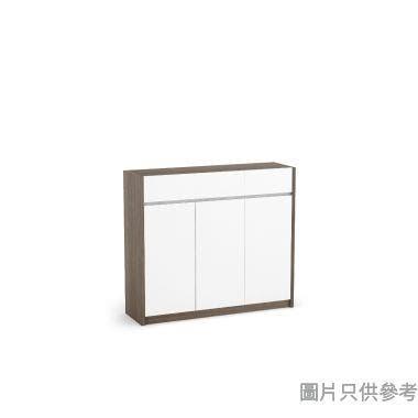 Staple 47吋三門三櫃桶鞋櫃  - 胡桃色配白色