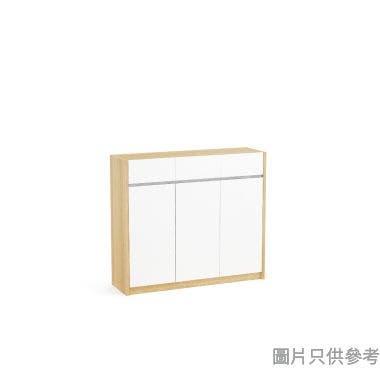 Staple 47吋三門三櫃桶鞋櫃  - 橡木色配白色