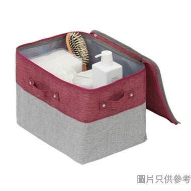 SOHO NOVO 350W x 200D x 230Hmm 仿麻拉鏈收納袋(細) - 桃紅色配淺灰色