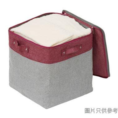 SOHO NOVO 350W x 350D x 350Hmm 仿麻拉鏈收納袋(大) - 桃紅色配淺灰色