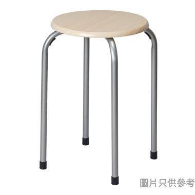 CENTRO木面鐵腳圓疊凳 300W x 300D x 455Hmm - 木紋色配白色