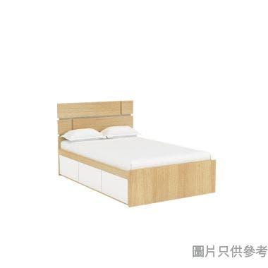 Staple 48吋x72吋格子木屏三櫃桶雙人床 - 橡木色配白色