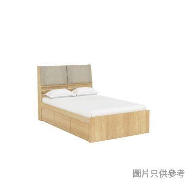 Staple 48吋x72吋布藝儲物床 - 橡木色