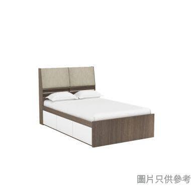 Staple 48吋x72吋布藝儲物床 - 胡桃色配白色