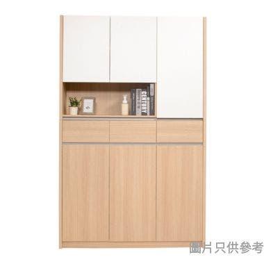 Staple 47吋三門鞋櫃連儲物櫃上座-橡木色/白色