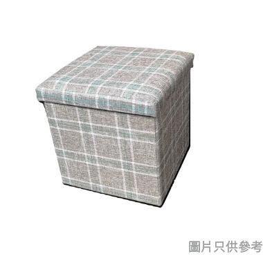 可折疊儲物收納凳380W x 380D x 380Hmm  - 淺灰格子
