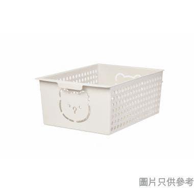 韓國製小熊塑膠儲物籃17L 410W x 295D x 171Hmm - 象牙白
