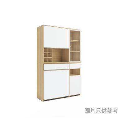 Staple 高身廳櫃連摺檯 1200W x 400D x 1900Hmm - 橡木色配白色