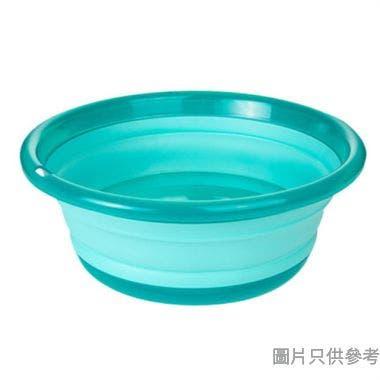 圓形折疊水盆9L 375W x 375D x 135Hmm - 透明藍