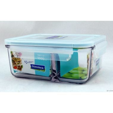 Glasslock韓國製長形分隔式食物盒1000ml MCRK-100