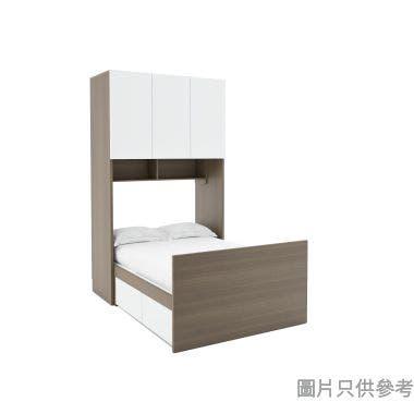 Staple兩櫃桶組合床連三門衣櫃1270W x 1903D x 2200Hmm - 胡桃色配白色