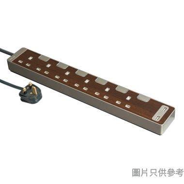 Schneider施耐德13A 6位獨立開關插座附2位USB&3米線TSH36U_3_WD_C5-胡桃木