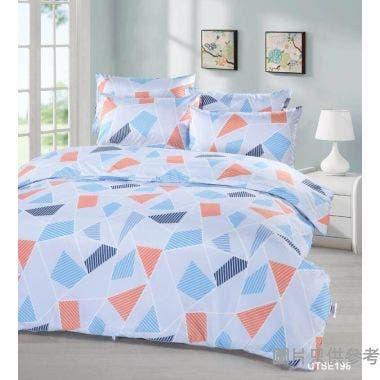 Cherry印花床品套裝雙人加大 (床笠+枕袋) - 淺藍色