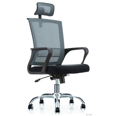 GRAYSON 高網背扶手轉椅630W x 600D x 1250Hmm - 灰色配黑色