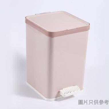 塑膠方形緩降腳踏垃圾桶 9L 1821 - 卡其色