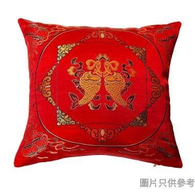 色丁雙魚方形新年抱枕 430W x 430Dmm - 紅色
